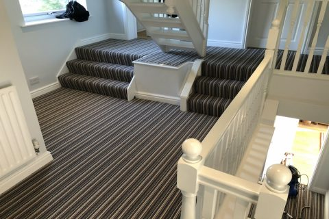 Striped Carpet Fitted to Stairs & Landings